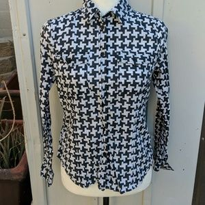 MICHAEL KORS houndstooth cotton BLOUSE